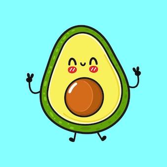 Netter lustiger springender avocadocharakter