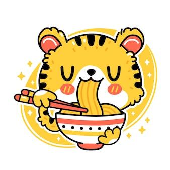 Netter lustiger tiger isst nudeln aus der schüssel. vektor handgezeichnete cartoon kawaii charakter abbildung symbol. isoliert auf weißem hintergrund. asiatisches essen, japanisches, koreanisches nudelmaskottchen-cartoon-charakter-konzept