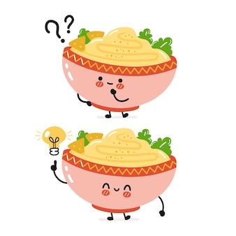 Netter lustiger traditioneller hummusschüsselcharakter mit fragezeichen und flacher karikatur der ideenglühbirne kawaii