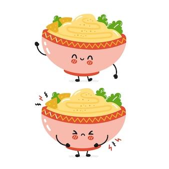 Netter lustiger trauriger und glücklicher traditioneller hummusschüsselcharakter. flache karikatur kawaii