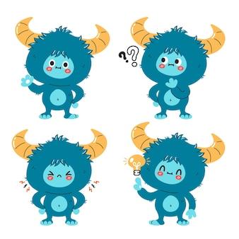 Netter lustiger yeti-monster-zeichensatz