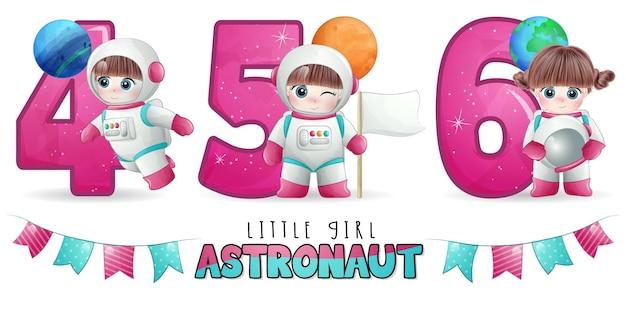 Netter mädchen-astronaut mit nummerierungs-illustrationsset