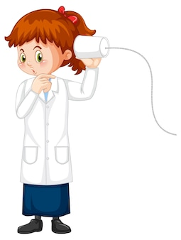 Netter mädchen-cartoon-charakter, der wissenschafts-labormantel trägt