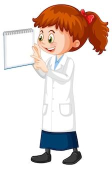 Netter mädchen-cartoon-charakter, der wissenschaftslaborkittel trägt wearing
