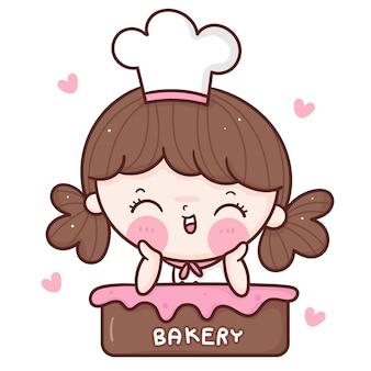 Netter mädchen-chefkarikatur auf cupcake kawaii bäckerei-ladenmaskottchen