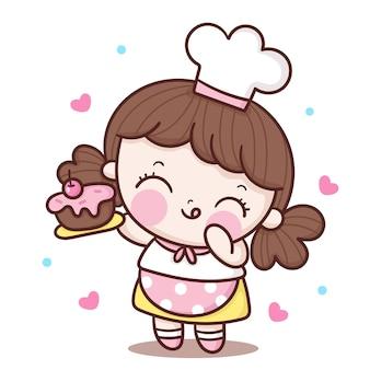Netter mädchen-chefkarikatur, der geburtstagskuchen kawaii charakter hält