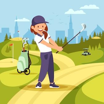 Netter mädchen-golf-spieler, der schwingen auf grünem kurs nimmt