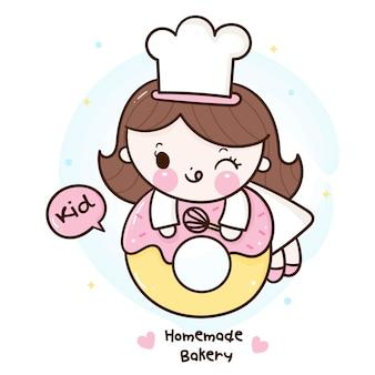 Netter mädchen kawaii bäckerei-shop-logo-karikatur für hausgemachtes kinderdessert