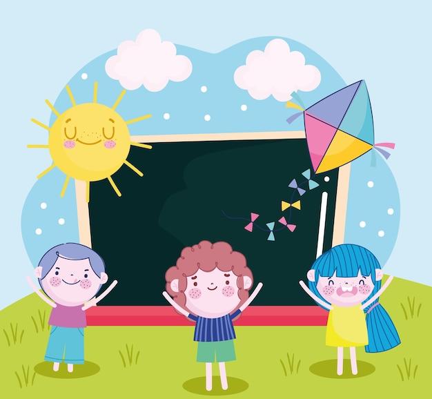 Netter mädchen- und jungen-drachentafel-karikatur des sonnigen tages, kinderillustration