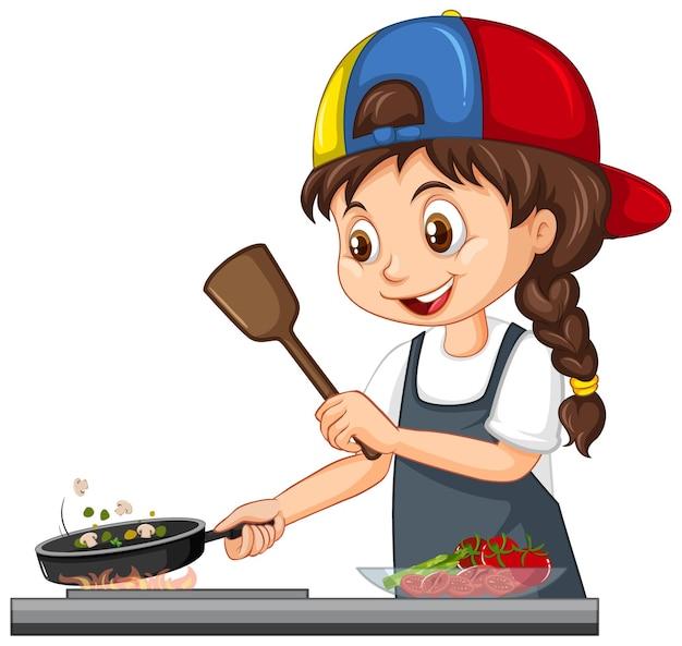 Netter mädchencharakter, der kappe kochendes essen trägt