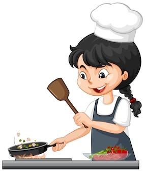 Netter mädchencharakter, der kochmütze kochendes essen trägt