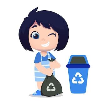 Netter mädchencharakter, der müll säubert und recycelt