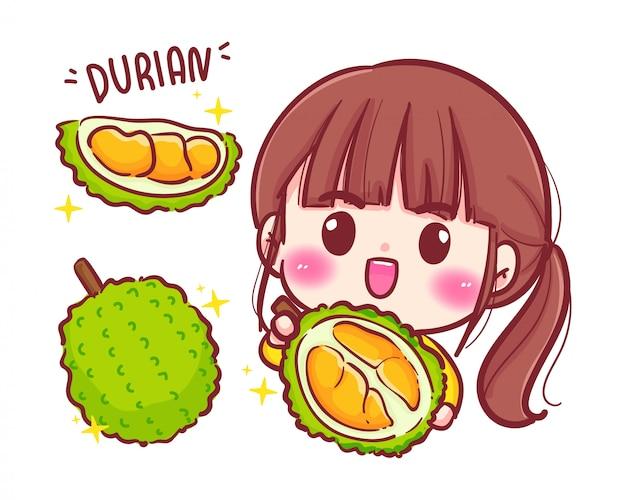 Netter mädchengärtner mit durianfrucht