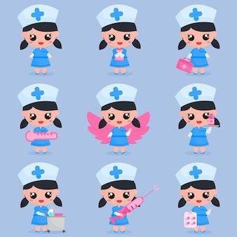 Netter mädchenkrankenschwestercharakter mit medizinischen werkzeugen im satzbündel