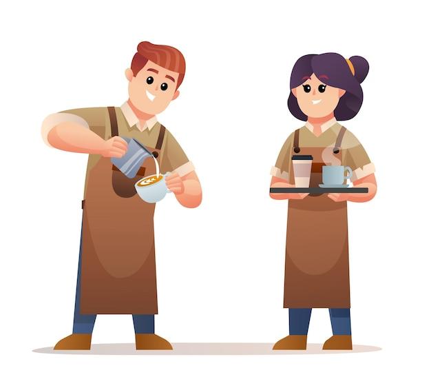 Netter männlicher barista, der kaffee macht und der weibliche barista, der kaffee mit tablett-zeichensatz trägt