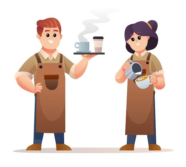 Netter männlicher barista, der kaffee trägt und der weibliche barista, der kaffeezeichensatz macht