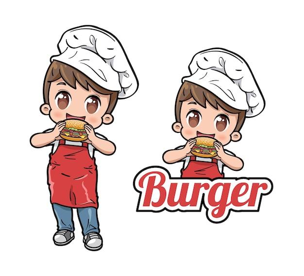 Netter männlicher koch, der einen burger isst