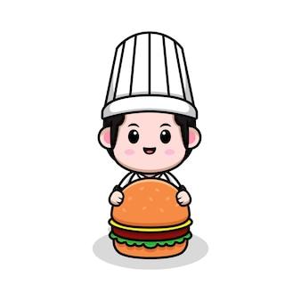 Netter männlicher koch mit burgerkarikatur-maskottchenillustration