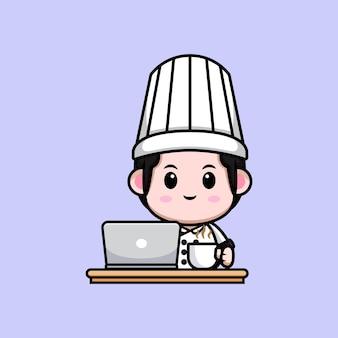 Netter männlicher koch mit laptop und einer tasse kaffeekarikatur-maskottchenillustration