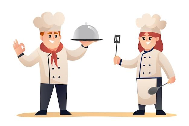 Netter männlicher und weiblicher koch, der zeichentrickfiguren kocht