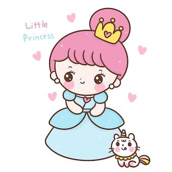 Netter märchenprinzessin-cartoon mit einhornkatzen-kawaii-art