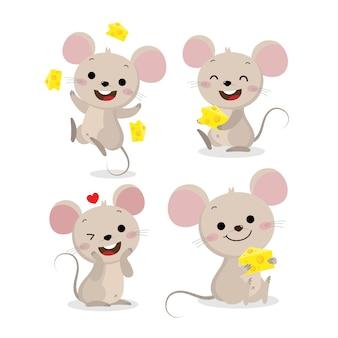 Netter mäuse- und käsevektorsatz