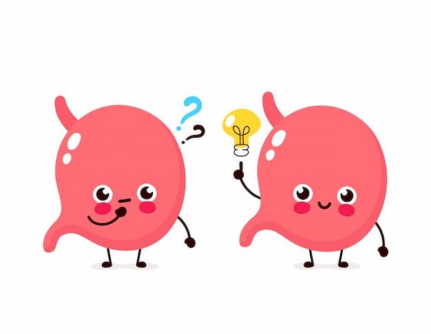 Netter magen mit fragezeichen und glühlampencharakter. flache cartoon charakter abbildung symbol. isoliert auf weiss magen haben ahnung