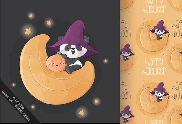Netter magischer panda auf dem mond glückliches halloween mit nahtlosem muster