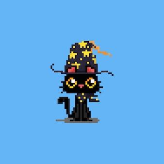 Netter magischer schwarzer katzencharakter der pixelkunstkarikatur.