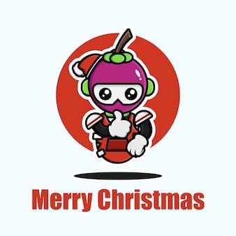 Netter magosteen, der weihnachten feiert