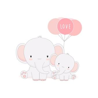 Netter mamma- und babyelefant mit ballonen. muttertagskarte.
