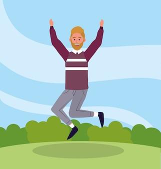 Netter mann, der mit freizeitkleidung springt