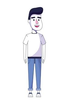 Netter mann mit hemd und baumwollstoff mit frisur