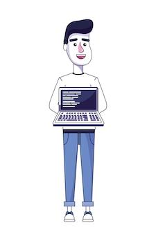 Netter mann mit laptop- und programmieren