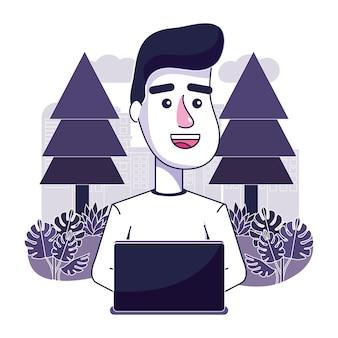 Netter mann mit laptoptechnologie in der landschaft