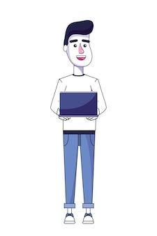 Netter mann mit laptoptechnologie und -kleidung