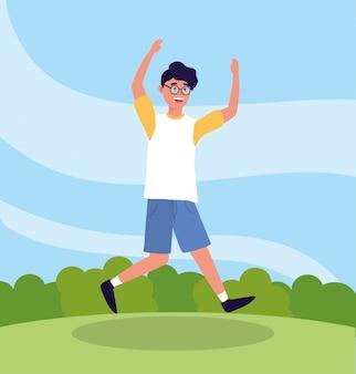 Netter mann mit modebrille springen