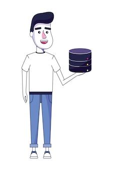 Netter mann mit zufälliger kleidung und datenplatte