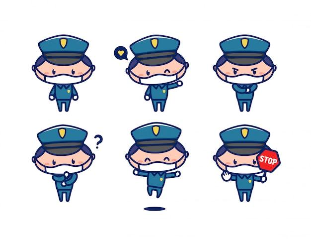 Netter maskottchencharakter des polizeibeamten im chibi-stil tragen gesichtsmaske