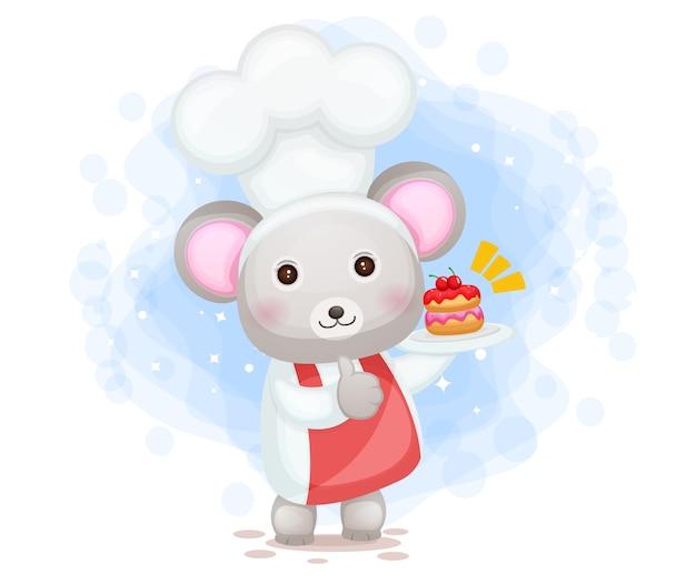 Netter mauskoch, der eine kuchenlächelnde karikaturfigur hält