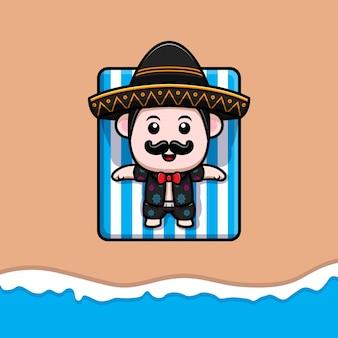 Netter maxikan-mariachi, der auf strandkarikaturmaskottchen ein sonnenbad nimmt
