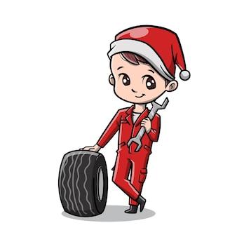 Netter mechaniker-mann feiert weihnachtskarikatur
