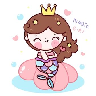 Netter meerjungfrauprinzessin-karikatur, der zauberstab auf schale kawaii illustration hält Premium Vektoren