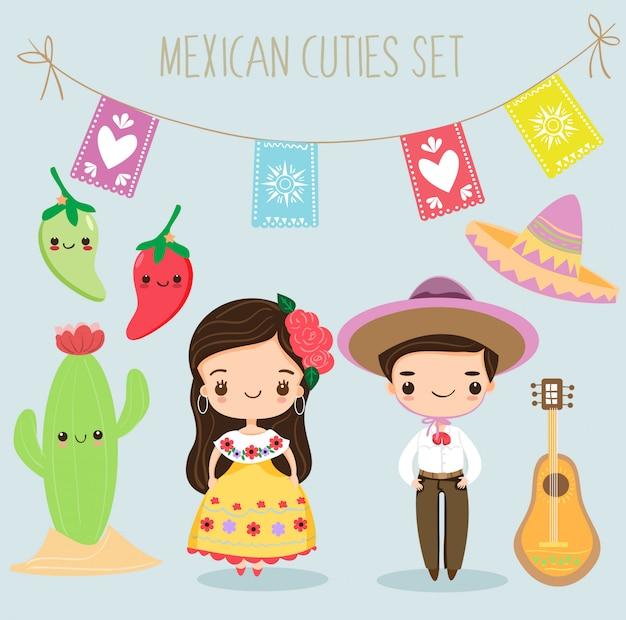 Netter mexikanischer junge und mädchen mit elementsatz