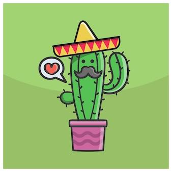 Netter mexikanischer kaktus mit hut und schnurrbart