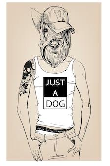 Netter modehippie-hund mit tätowierung. vektor-illustration