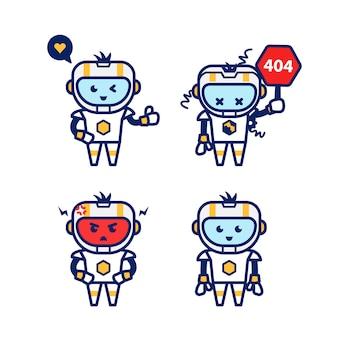 Netter moderner futuristischer roboter smart ai humanoide zeichentrickfigur