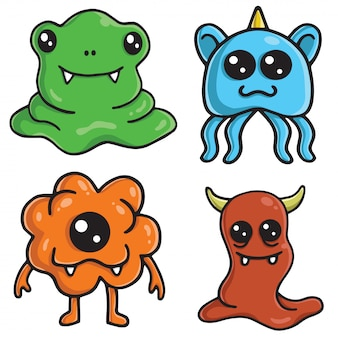 Netter monster charakter design vector set