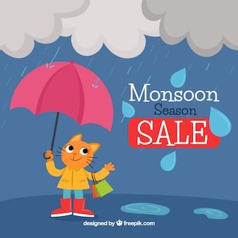 Netter monsunhintergrund mit katze und regenschirm