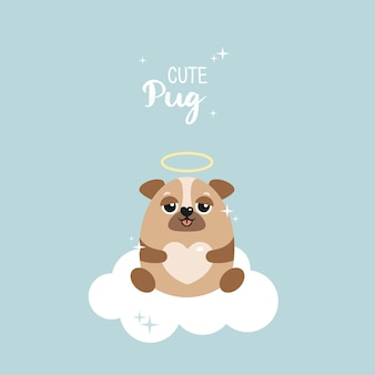 Netter mops auf einer wolke. freundlicher hund auf blauem vektorhintergrund. sterne, herz. postkarte, poster, kleidung, stoff, geschenkpapier.